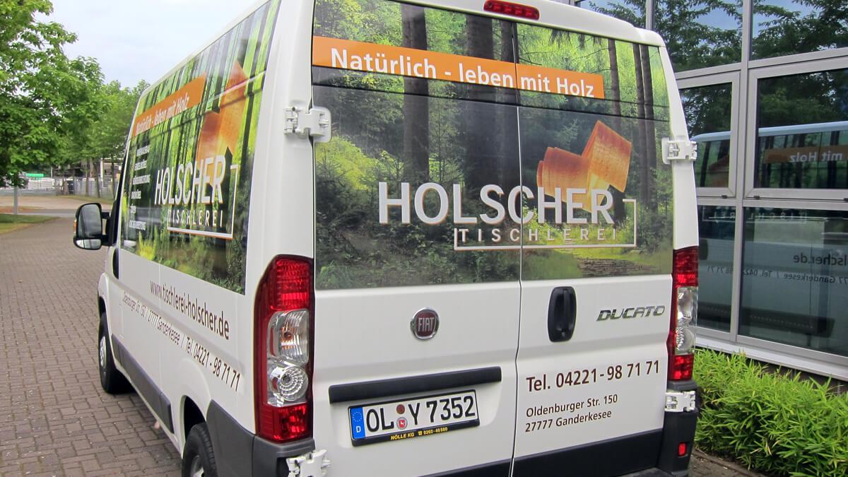 Anka Werbung - Messebau Bremen - Werbetechnik Fahrzeugbeschriftung - Transporter Hecktür
