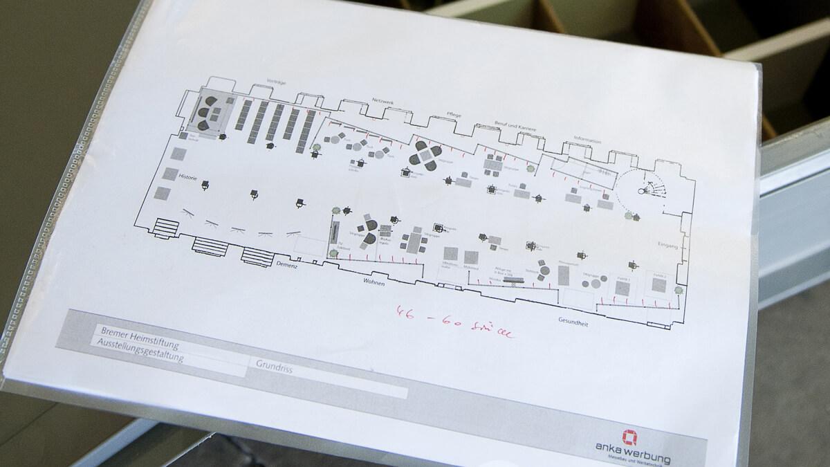 Anka Werbung - Messebau Bremen - Ausstellungen - Aufbauplan (Bremer Heimstiftung)