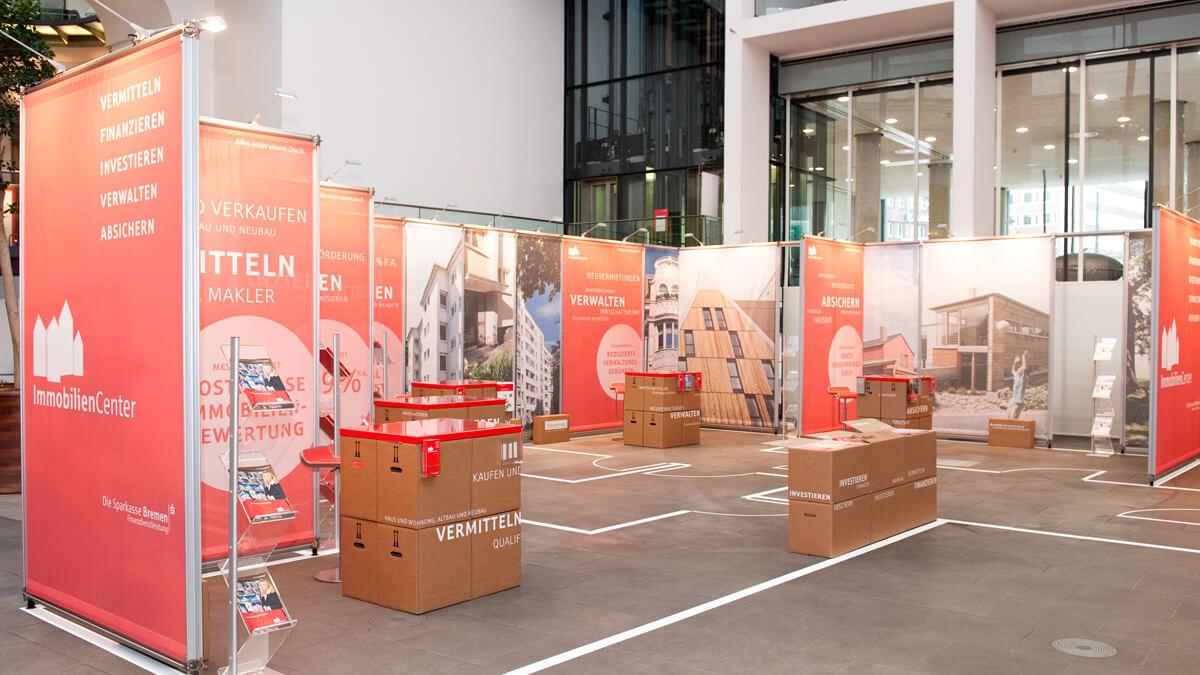 Anka Werbung - Messebau Bremen - Ausstellungen - Individuelle Standarchitektur (Sparkasse Bremer Immobilientage 2012)