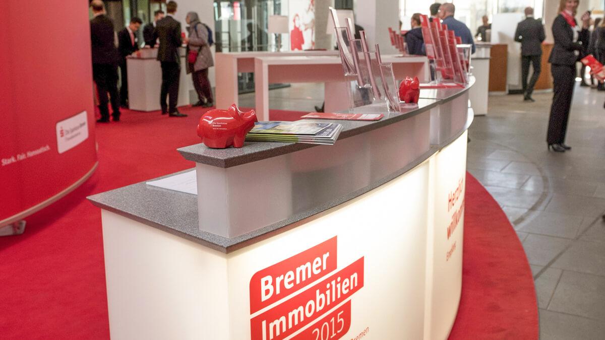 Anka Werbung - Messebau Bremen - Ausstellungen - Tresen (Sparkasse Bremer Immobilientage 2015)