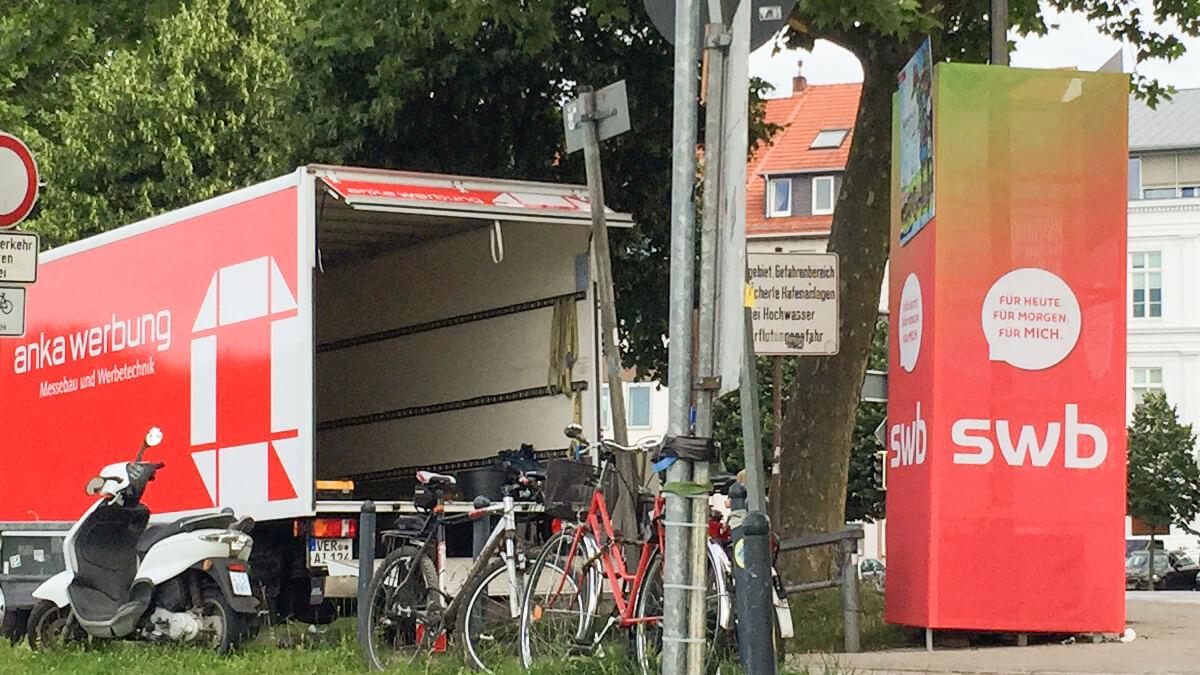 Anka Werbung - Messebau Bremen - Ausstellungen - Anlieferung (swb Breminale)