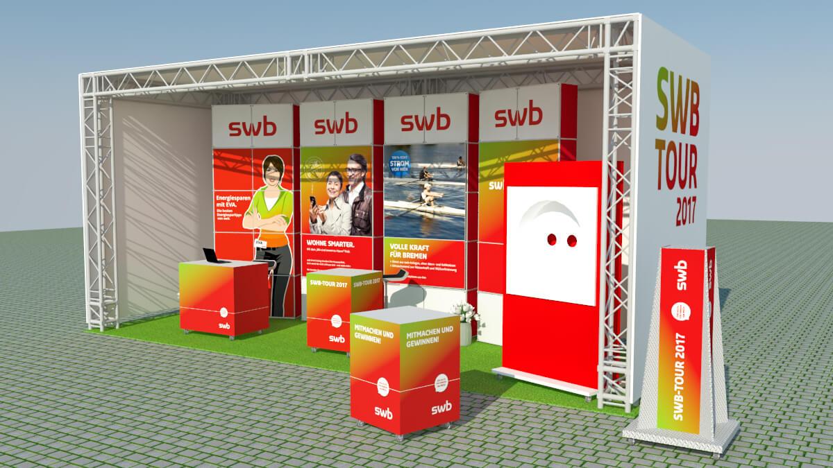 Anka Werbung - Messebau Bremen - Ausstellungen - Outdoor Stand Visualisierung (swb Tour)