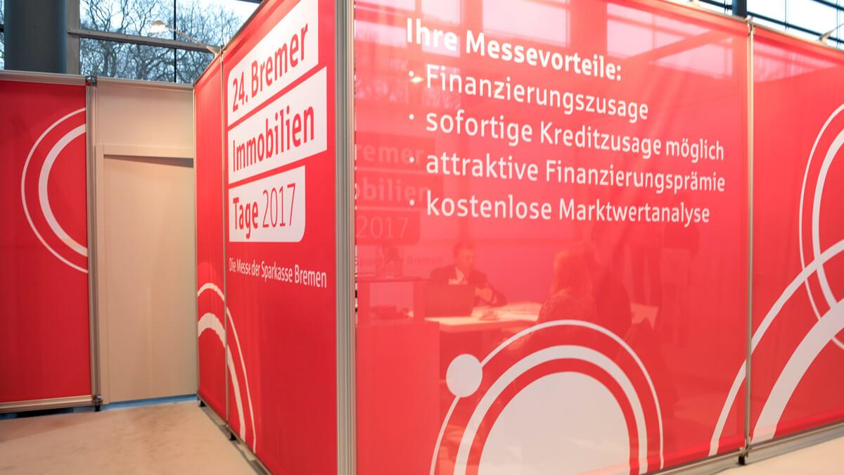 Anka Werbung - Messebau Bremen - Textil Spannrahmen (Sparkasse Bremer Immobilientage 2017)