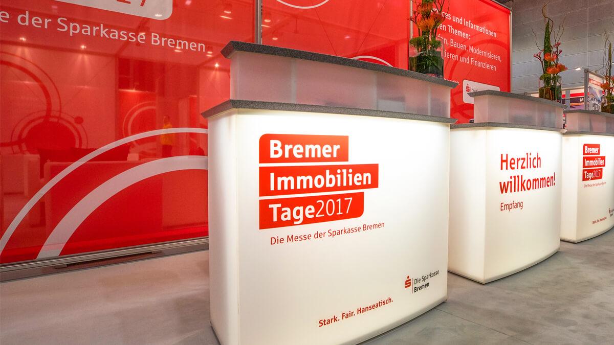 Anka Werbung - Messebau Bremen - Empfangstresen (Sparkasse Bremer Immobilientage 2017)