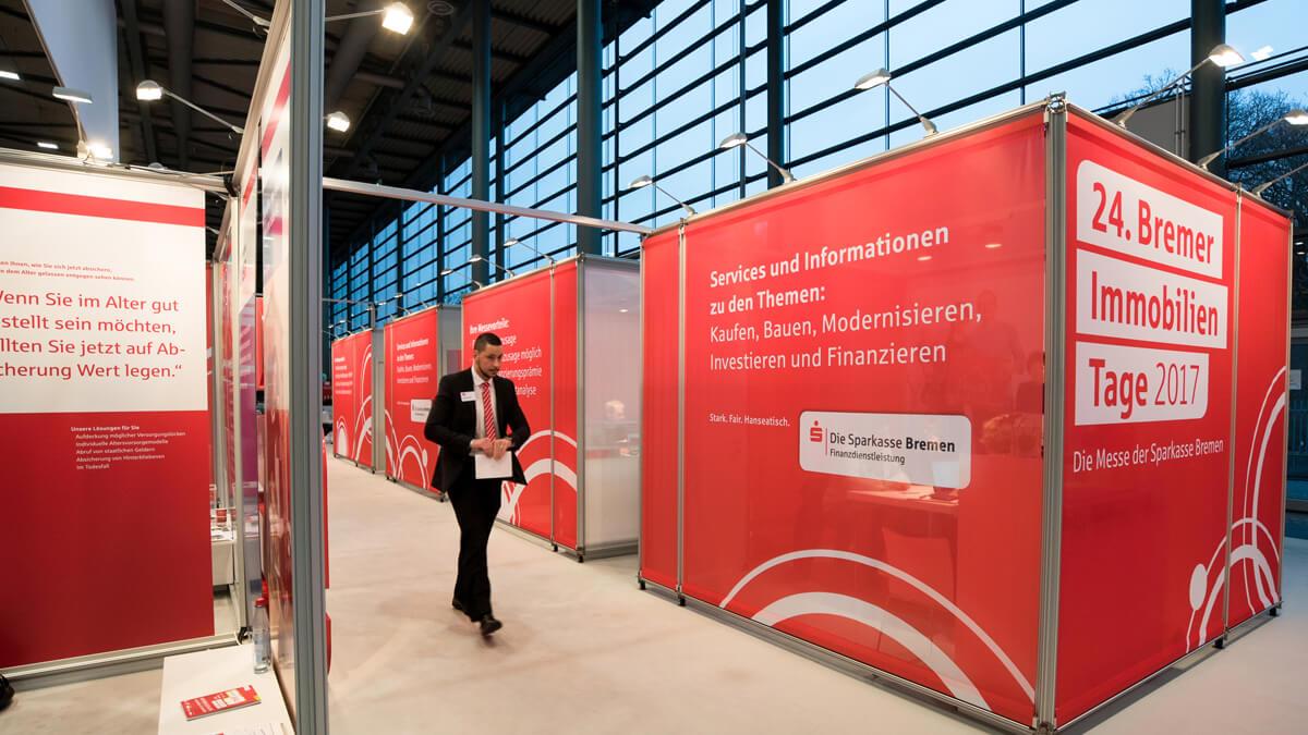 Anka Werbung - Messebau Bremen - Kabine Sektion (Sparkasse Bremer Immobilientage 2017)