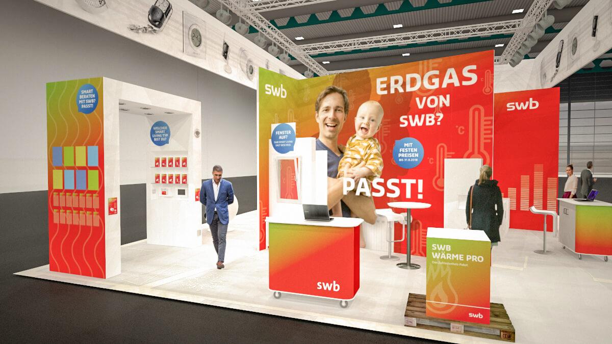 Anka Werbung - Messebau Bremen - swb HanseBau 2018 - Standkonzept