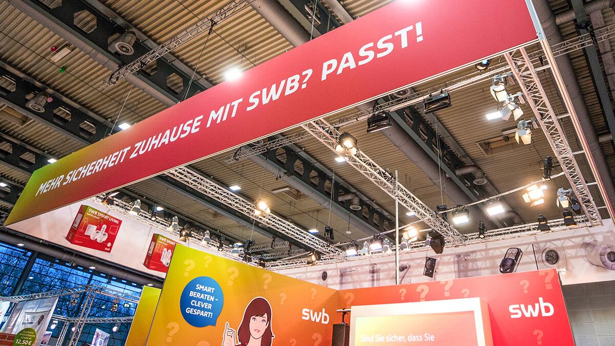 Anka Werbung - Messebau Bremen - swb Hansebau 2018 - Beleuchtungskonzept